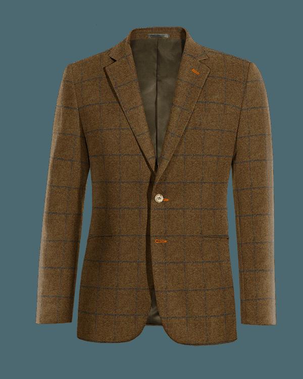 Braunes kariertes Sakko aus tweed
