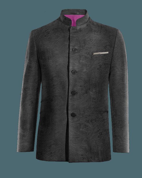 Black Nehru paisley velvet Blazer