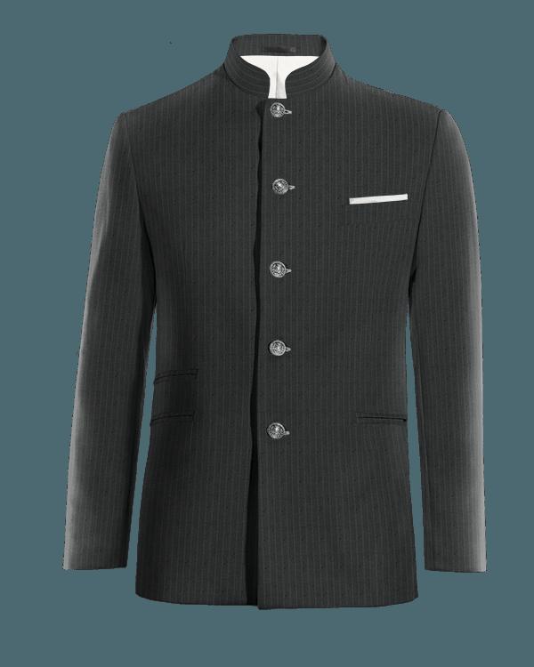 Blaues gestreiftes stehkragen Sakko aus Wolle