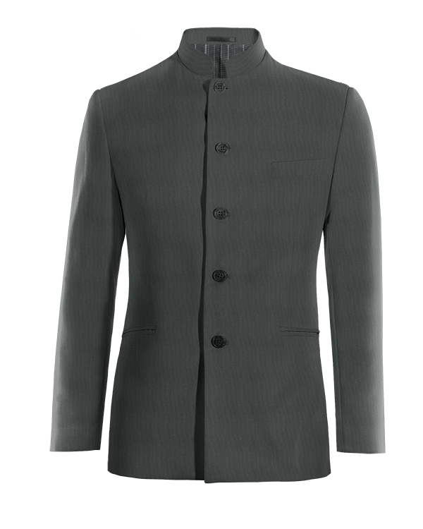 Grey Nehru wool Blazer