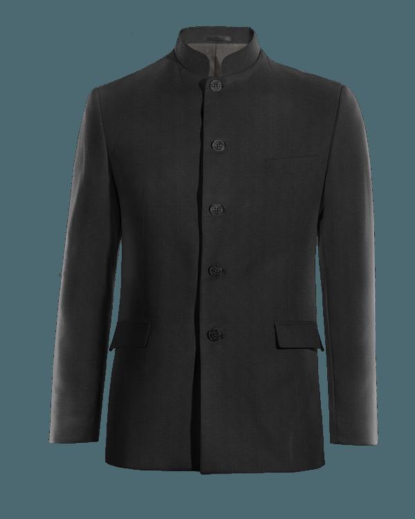 Schwarzes stehkragen Sakko aus Wolle