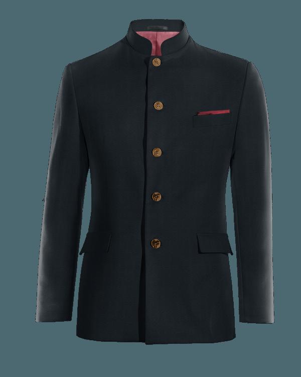 Blue Nehru wool Blazer