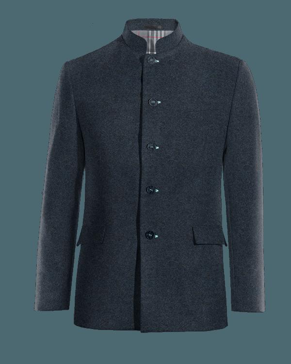 Blaues stehkragen Sakko aus tweed
