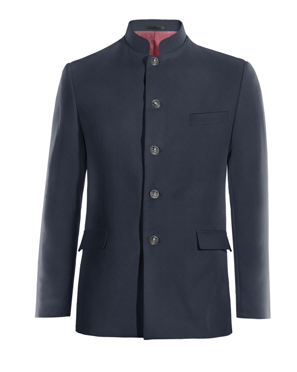 Blue Nehru wool Blazer