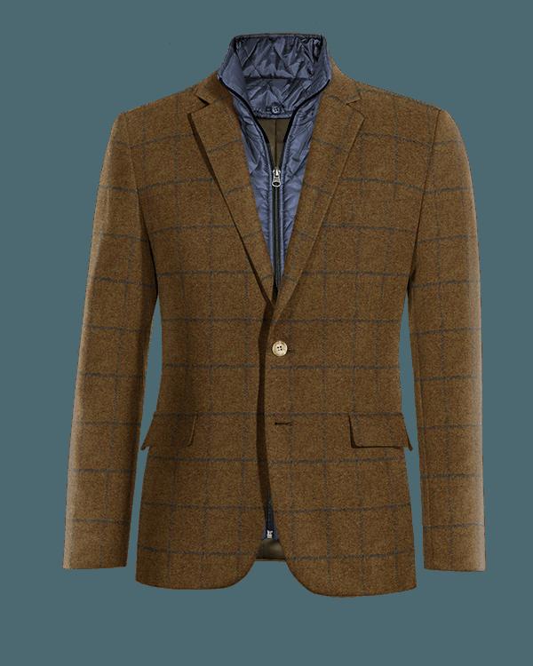 Braunes kariertes Sakko aus tweed mit herausnehmbarem Brusteinsatz