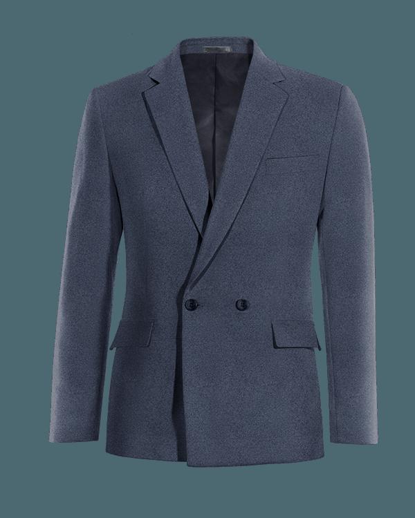 Blaues zweireihiges Sakko aus Baumwolle