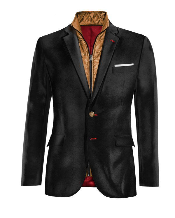 Black velvet removable gilet Blazer