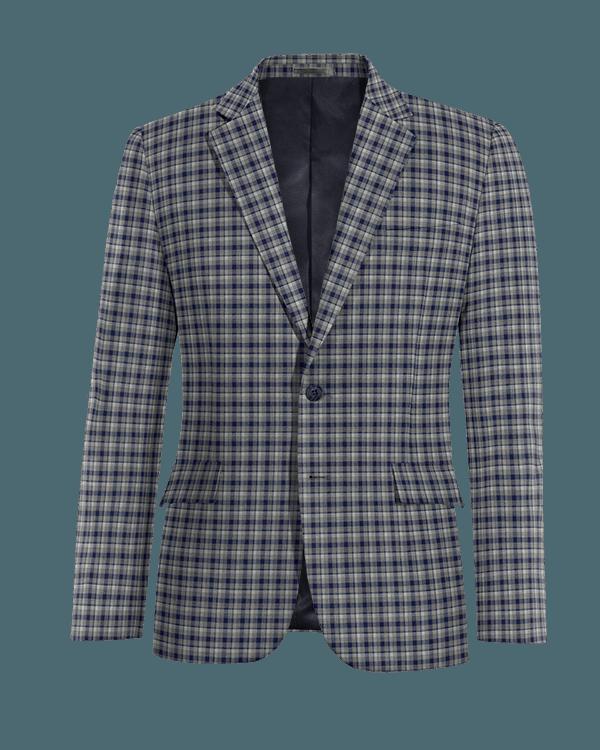 Giacca blu a quadri 100% lana