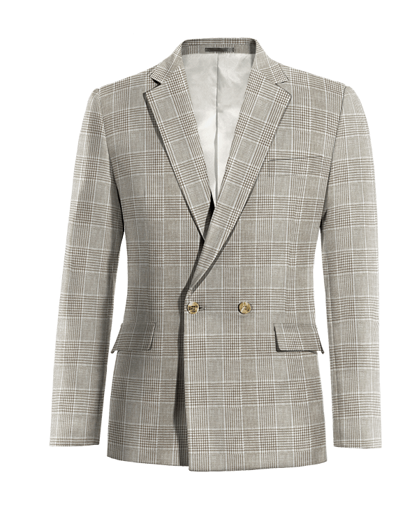 Beige double breasted checked linen Blazer