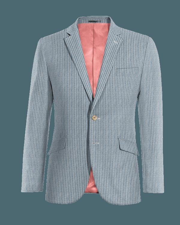 Giacca blu gessata di Lino