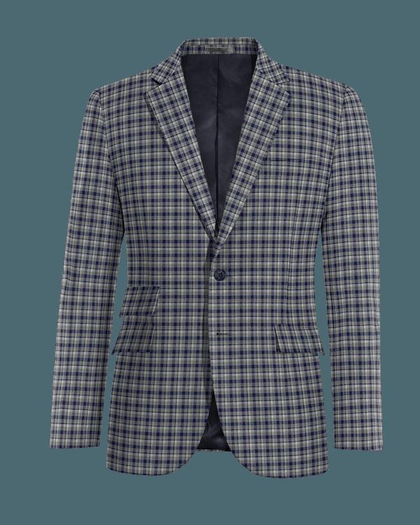 Blue checked wool Blazer
