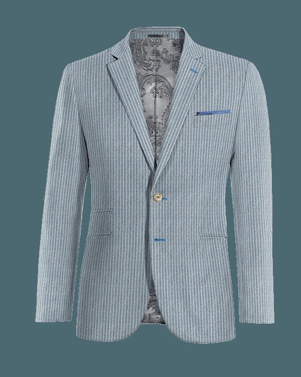 Veste bleue à rayures en Lin