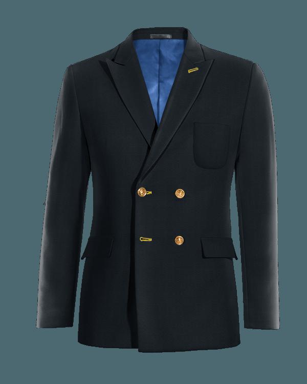 Veste bleue croisée 100% laine