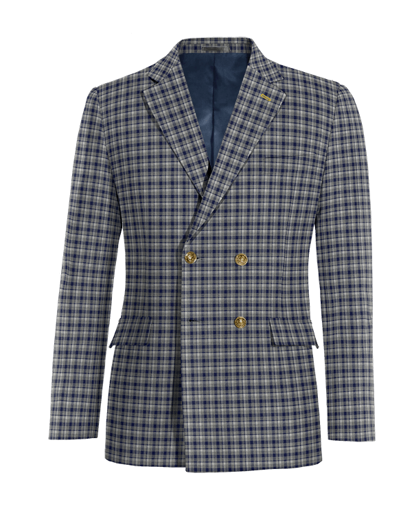 Blue double breasted checked wool Blazer