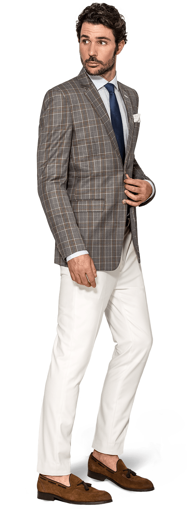 Grey checked wool Blazer