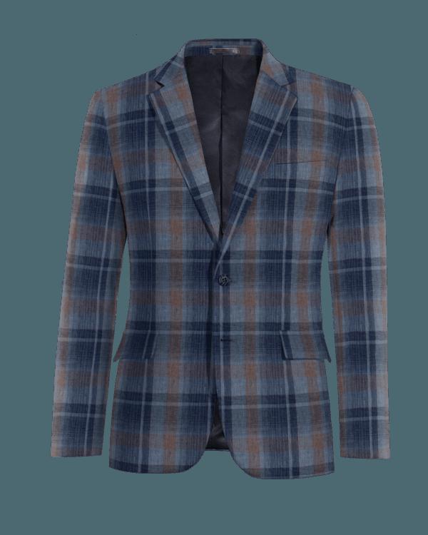 Blaues kariertes Sakko aus Leinen