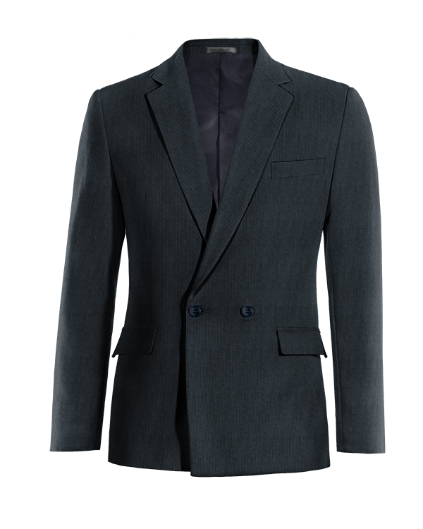 Blue double breasted striped corduroy Blazer