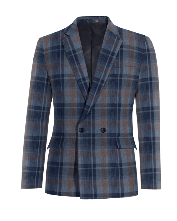 Blue double breasted checked linen Blazer