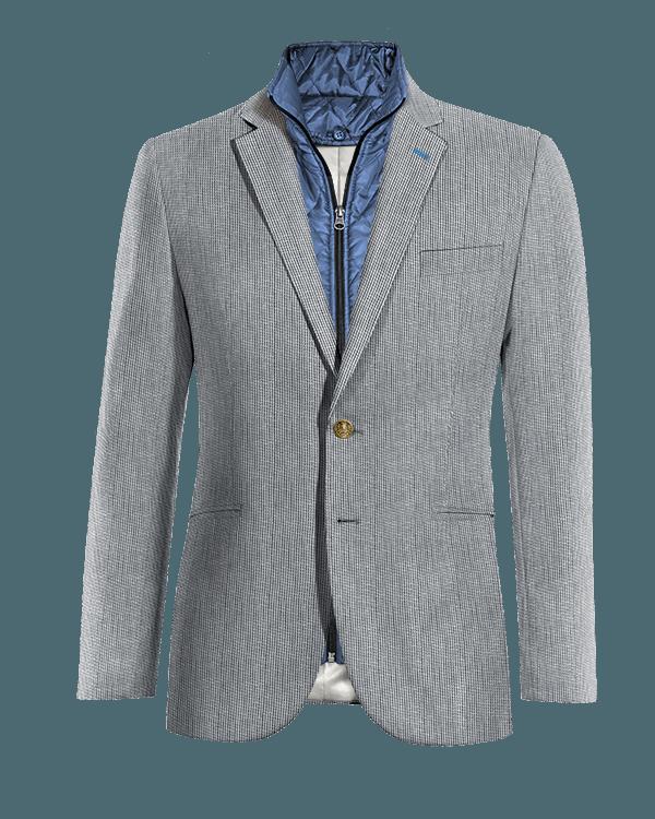 Giacca blu gessata di Lino con Gillet Removibile