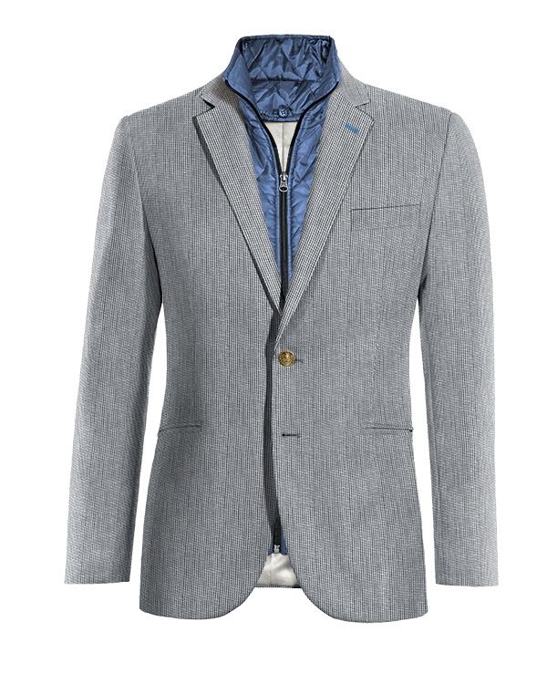 Blue striped linen removable gilet Blazer