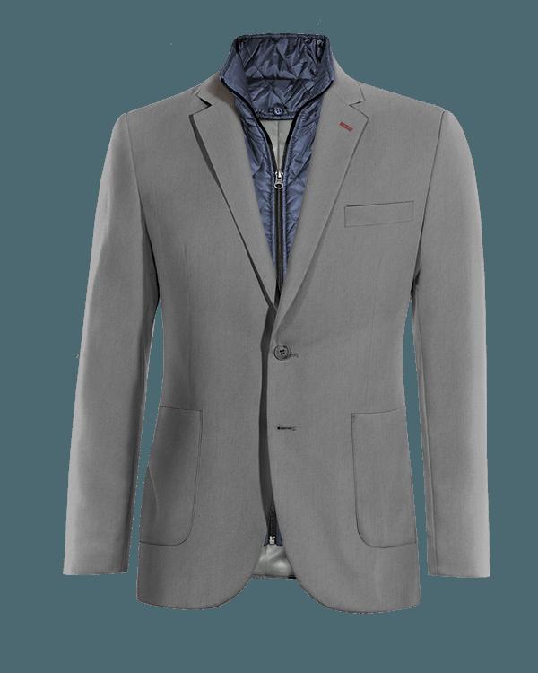 Graues Sakko aus Wolle mit herausnehmbarem Brusteinsatz