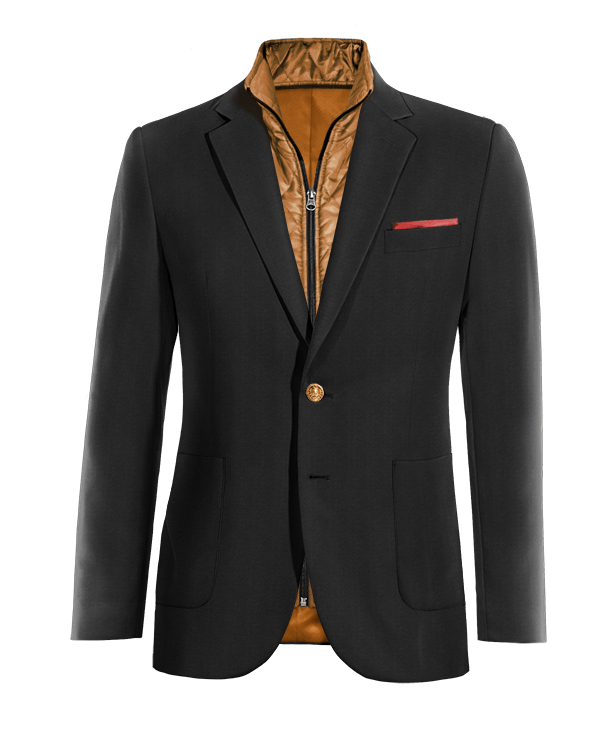 Schwarzes Sakko aus Wolle mit herausnehmbarem Brusteinsatz