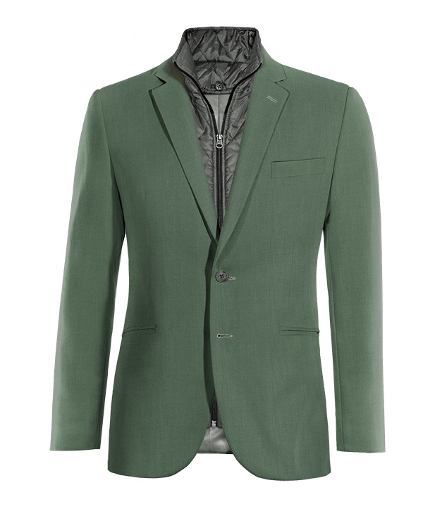 Veste verte en Laine avec gilet amoviblet