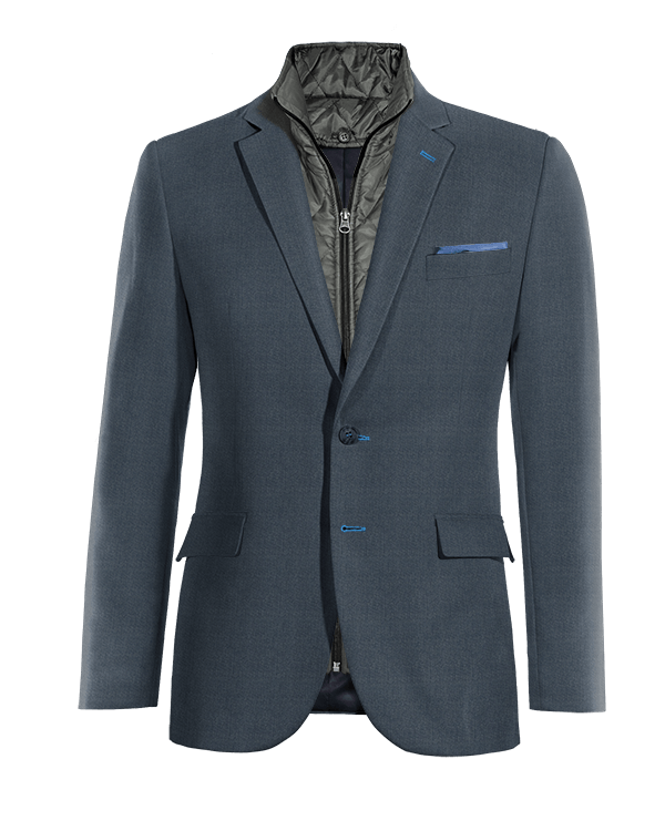 Blue wool removable gilet Blazer