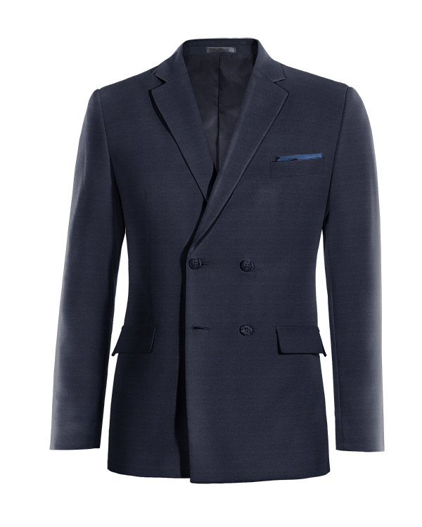 Blue double breasted Merino wool Blazer