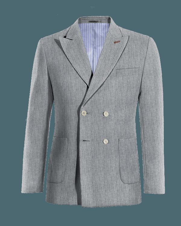 Blue double breasted striped linen Blazer