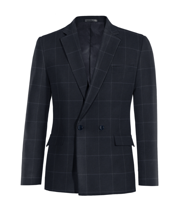 Blue double breasted checked Blazer