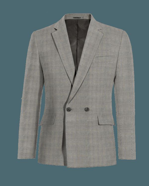 Graues kariertes zweireihiges Sakko aus Wolle