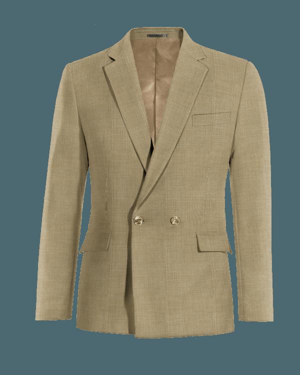 Blazer doppiopetto marrone pied-de-poule 100% lana