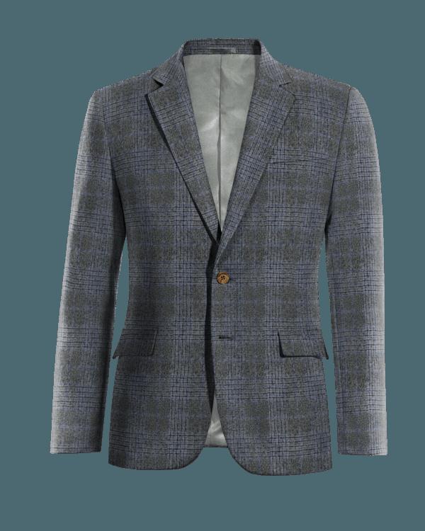 Graues kariertes Sakko aus Wolle