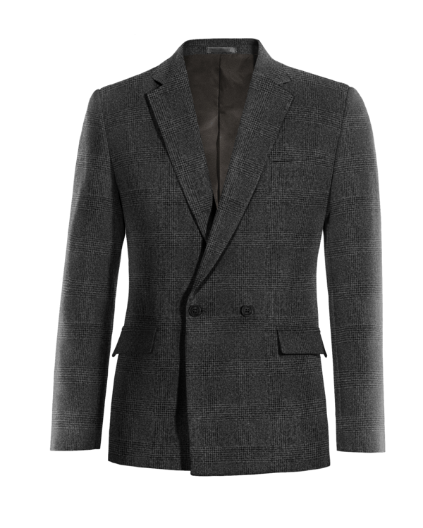 Grey double breasted checked tweed Blazer