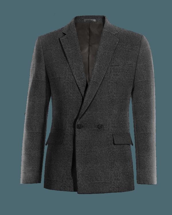 Graues kariertes zweireihiges Sakko aus tweed