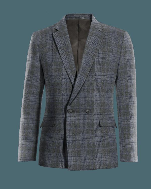 Veste grise croisée à carreaux 100% laine