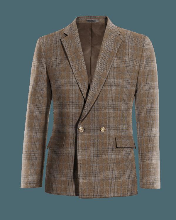 Braunes kariertes zweireihiges Sakko aus Wolle