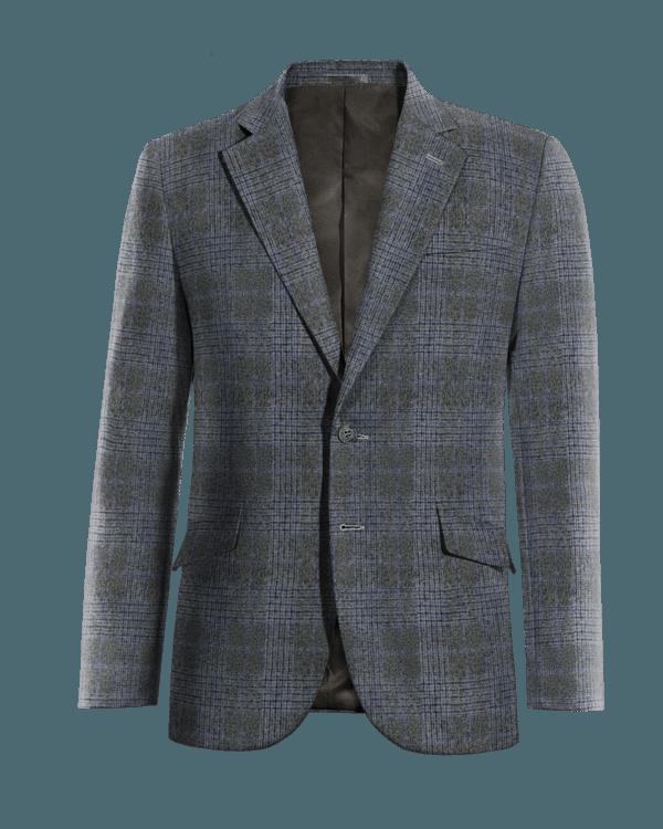 Veste grise à carreaux 100% laine