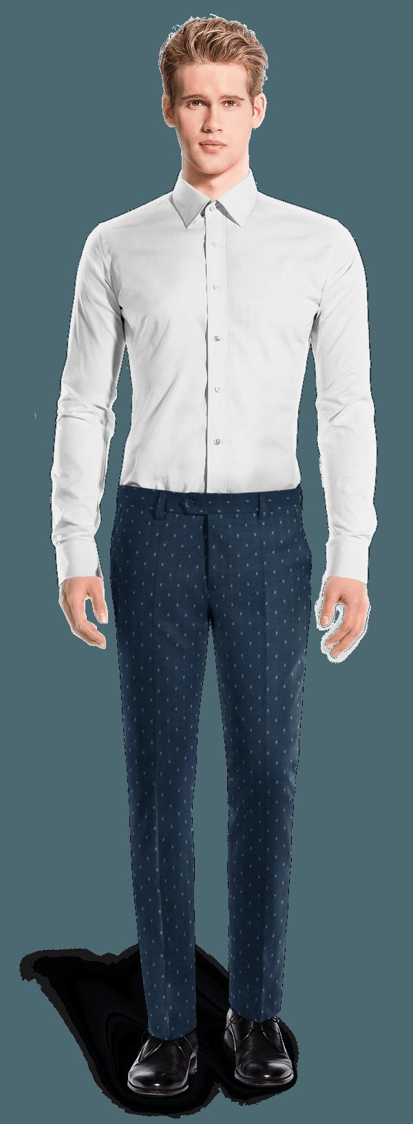 Pantaloni blu micropattern
