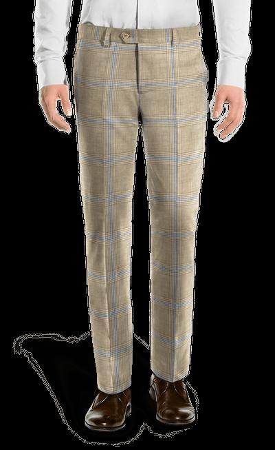 Pantalón beige de corte recto de Lino a cuadros-Vista Frontal 49e8280a130