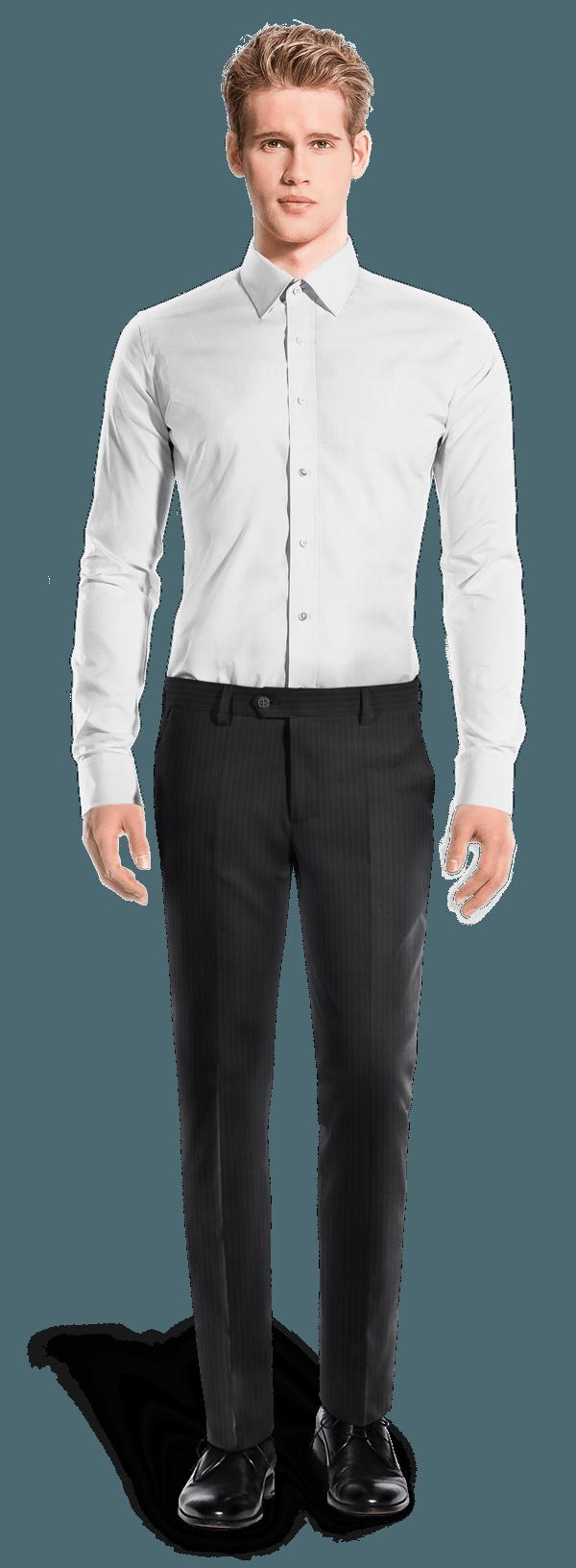 Pantalon bleu coupe cintrée à rayures 100% laine