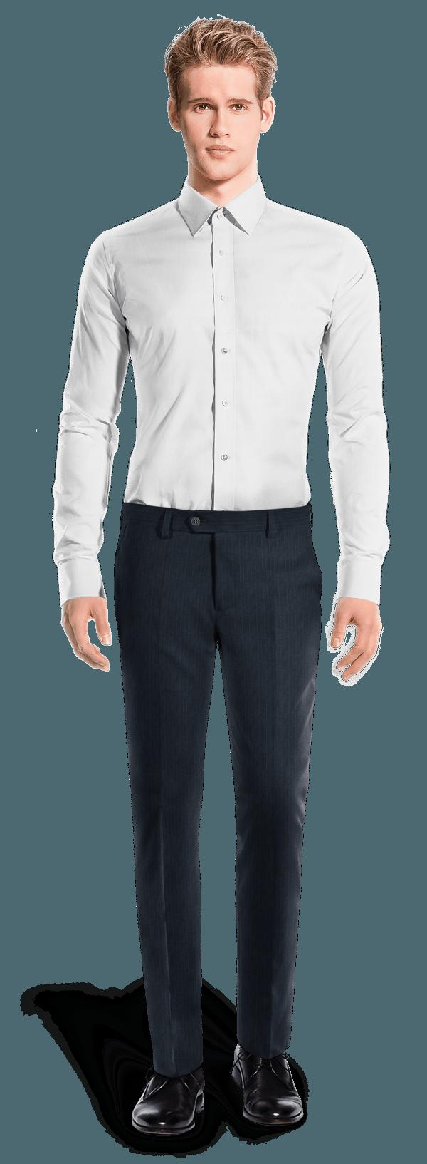Blaue Gestreifte Hose aus Merinowolle