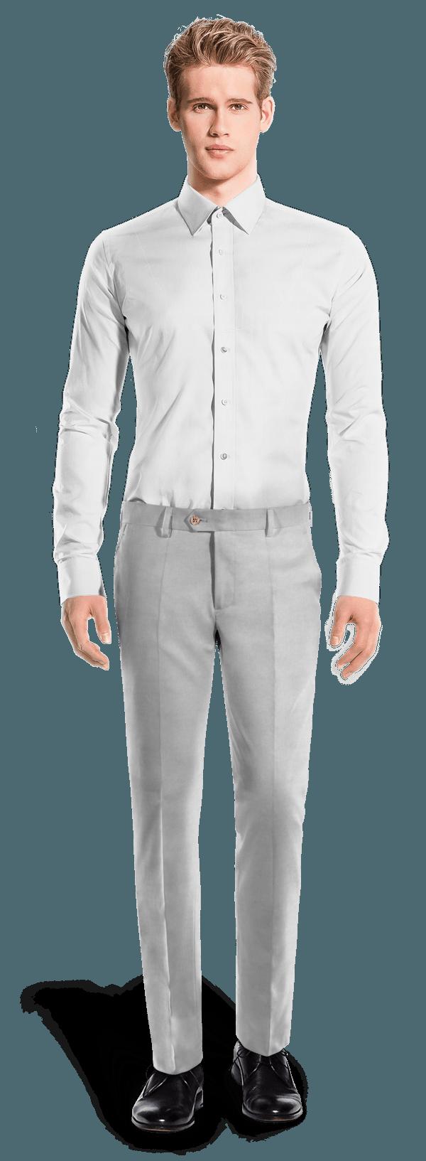 Grey slim fit linen Trousers