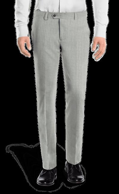 e2dc82d0232a9 Pantalón gris de corte slim de Lino a rayas  159 - Marly