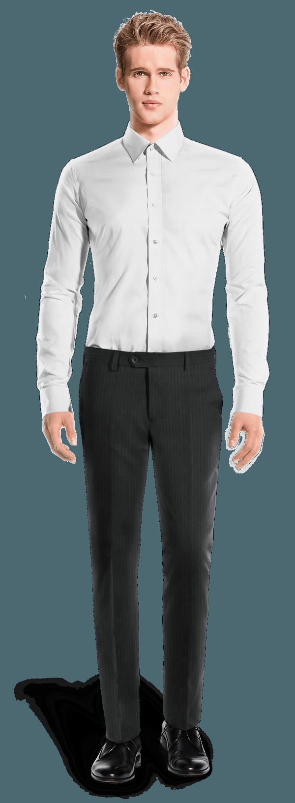 Pantalon bleu coupe cintrée à rayures en Laine