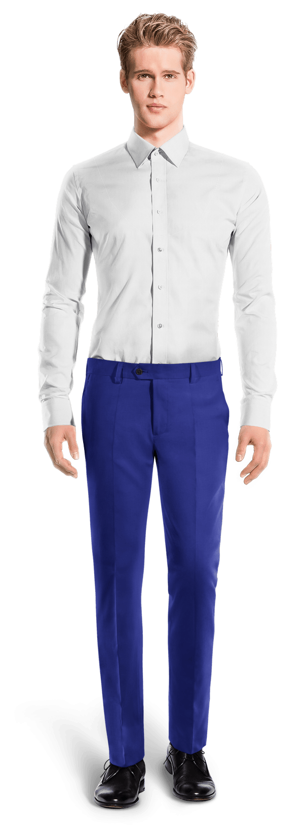 Blue slim fit wool Pants