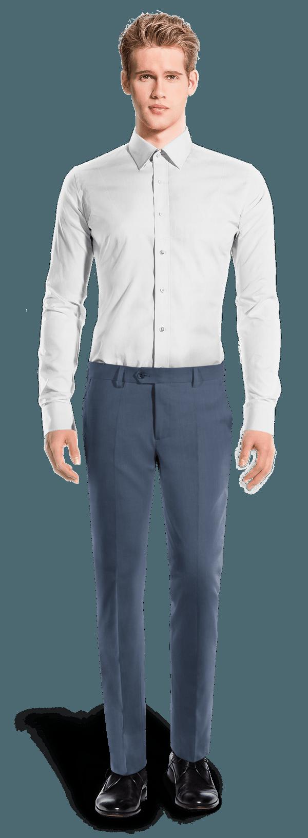 синие приталенные брюки