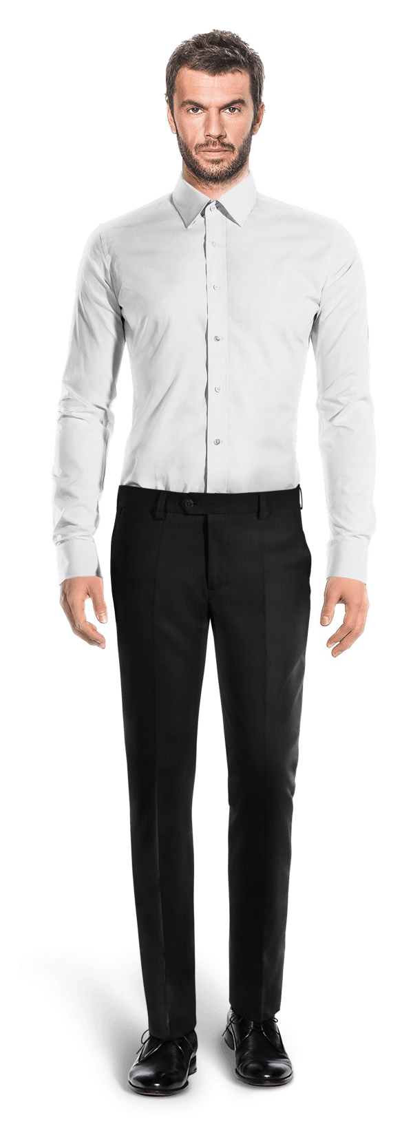Schwarze tailliert Hose aus Wolle