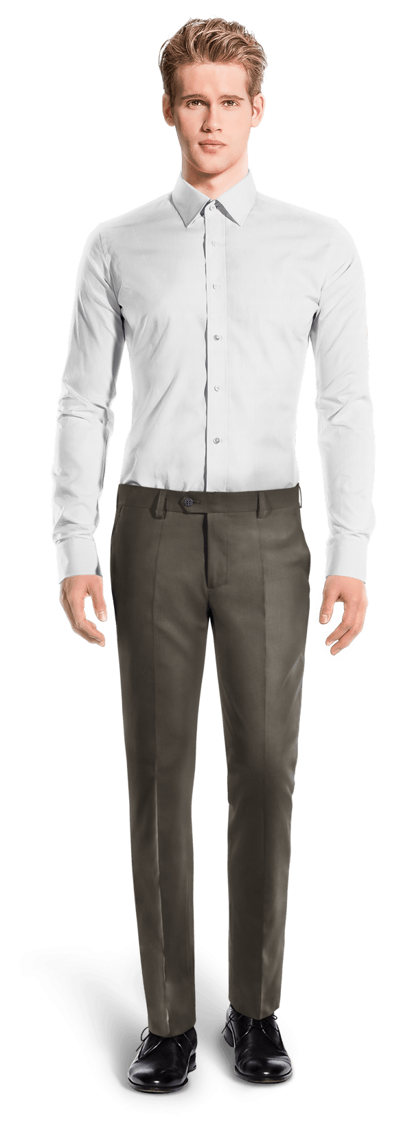 Brown slim fit polyester Pants